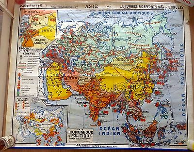 Old French school map of  Asia probably 1960s by Jean Brunhes.