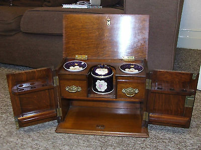 Arts & Crafts Smoking Humidor Pipe Cigars Cabinet With Fittings Antique Oak