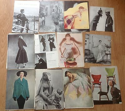 1950's Vogue magazine pages 70+ black and white fashion pictures.