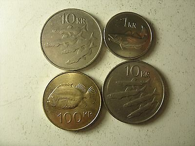 Lot Of 4 Iceland Coins 1-100 Krone 1984-2007 Interesting !!!!!!!!!