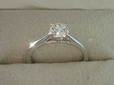 Certified 0.50 Ct 18 Carat White Gold Diamond Engagement Ring Valentines Day