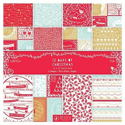 "TASTER (HALF) PACK 12""x12"" PAPERS - 12 DAYS OF CHRISTMAS - DOCRAFTS"