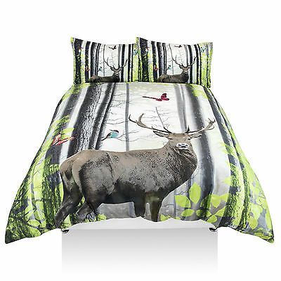 Duvet Cover with Pillowcases 3D Panel Print Quilt cover set (Forest Stag) (King)