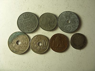 Lot Of 7 Old Belgium Coins 2 Cents- 5 Francs 1862-1943 Interesting