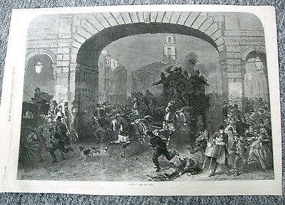 London Illustrated Fire 1869 Antique  Engraving Fire Engine