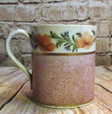 Antique English Georgian Porcelain Cup c 1810 Red Spongeware & Flowers Coalport