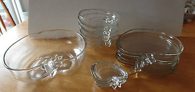 Vintage APPLE Shaped Clear Colony GLASS 17 Piece Dishes~Large Bowl-Butter Pats