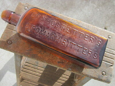 DR. J. HOSTETTERS STOMACH BITTERS applied glop top antique bottle amber glass