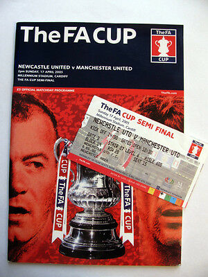 NEWCASTLE UNITED v MANCHESTER UTD 2004-05 F.A.CUP SEMI FINAL PROGRAMME & TICKET