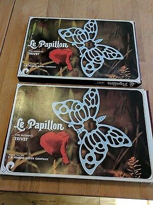 2 New Old Stock Vintage Le Papillon Trivets F.B. Rogers Silver Co. The Butterfly