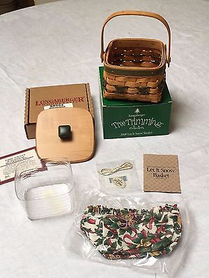 Longaberger 2000 Green Let It Snow -Tree Trimming Basket Combo with Lid - Signed