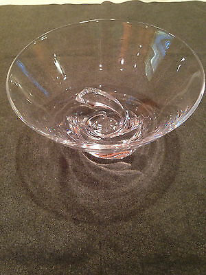 Steuben Crystal Swirl Footed Bowl - signed - Donald Pollard