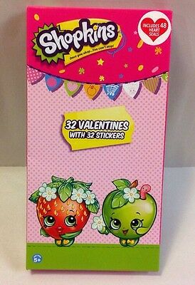 SHOPKINS Valentine Cards 32 STICKERS Kids Classroom School Party Toy Figures