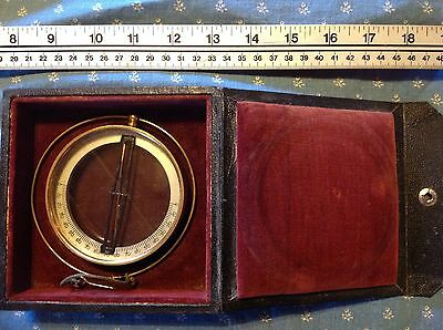 Antique Short and Mason Dip Needle Mining Compass in Black Wooden Velvet Case