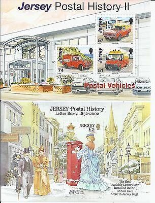 2002 &2006 Two Jersey Postal History Mini sheets MNH Letterboxes Vehicles (1669)