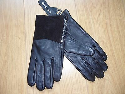 RIVER ISLAND black leather men's gloves. Size M/L NEW.