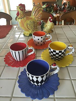 Carol Elridge Flower Cup Saucer Lady Bug Bee Dragon Fly Bubble Bee Bright Colors