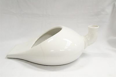 S Primitive Porcelain White Homer Laughlin Chamber Pot Bed Pan with Spout