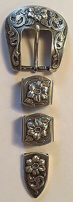 Western Rodeo Floral Silver Engraved 3 piece Belt Buckle Set Cowboy Cowgirl