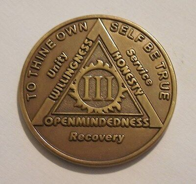 aa new alcoholics anonymous bronze 3 year recovery sobriety coin token medallion
