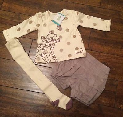 New baby girls bambi outfit tights shorts nb 0-3 3-6 6-9 9-12 12-18 18-24 months