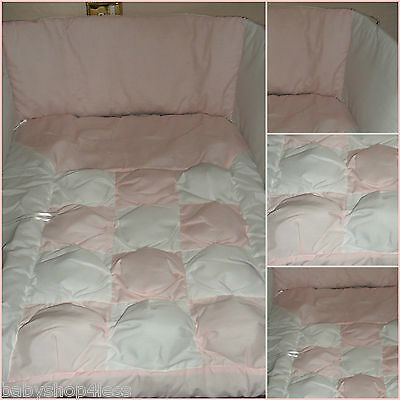 Cotbed Quilt And Bumper Bedding Set Pink/white Bubble Design Cot Bed Set New