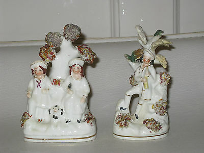 Miniature Pair Staffordshire Figures 19th Century - 4 inches tall