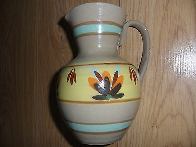 Traditional earthy dark beige jug by Dee Cee England. 7 inches tall.