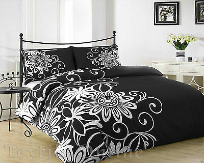 Duvet Cover with Pillow Case Quilt Cover Bedding Set (Helen Black) King Size