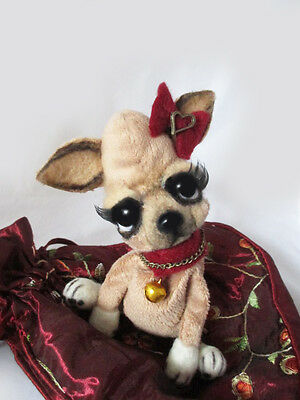 "OOAK Mini Puppy Chihuahua ""Zoey"" ~ Handmade Dog Artist Bear By Michele Roy"