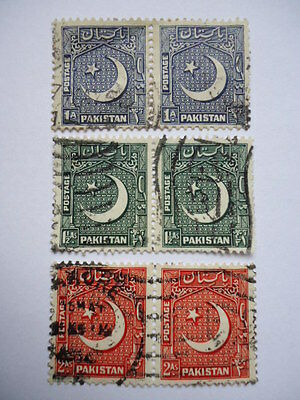 Pakistan 1949-53 SG47-49 1a-2a Used pairs