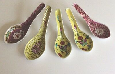 5 Chinese Porcelain Soup Spoons