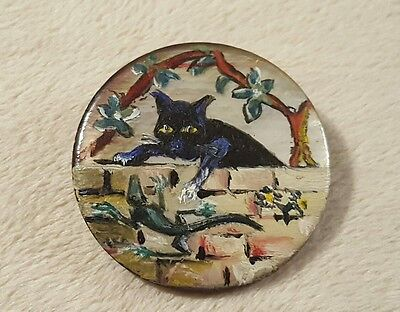 Vintage Hand Painted Mother of Pearl Button black cat and lizard micro mosaic