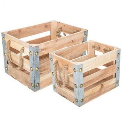 **New** Distressed Brown Wood Storage Crate Set with Chalkboards (SET OF 3)
