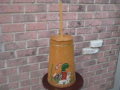 Vintage Butter Churn Dasher Primitive Farm Country Hand Painted Duck Usa
