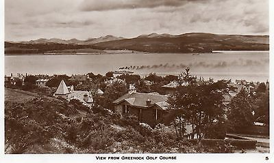 VIEW FROM GREENOCK GOLF COURSE RIVER CLYDE REAL PHOTO c1945 RENFREWSHIRE