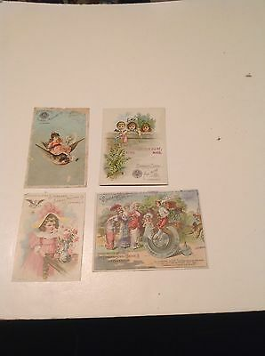 Four Victorian-Era Trade Cards Advertising Standard Sewing Machines