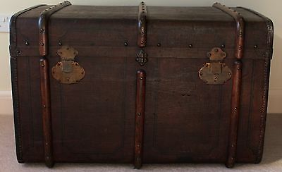 Superb Tall Large Antique Vintage Brass Steamer Trunk Coffee Table Travel Chest