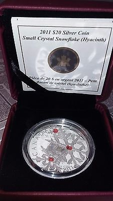2011 Canada Swarovski Crystal Snowflake Hyacinth Red $20 Silver Proof 1oz Coin