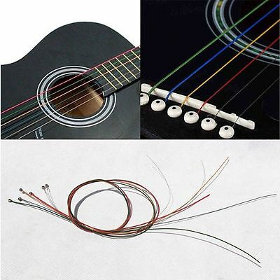 One Set 6pcs Guitar Strings Rainbow Colorful Color Acoustic Guitar Strings