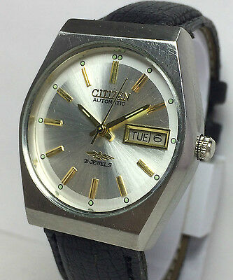 Genuine Vintage Citizen 21Jewels Automatic Japan Made Day Date Mens  Wrist Watch