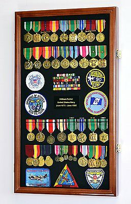 Large Military Medals, Pins, Patches, Insignia, Ribbons, Flag Display Case