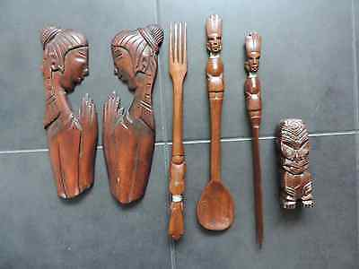 Six African Wooden Ornaments (See Photos)
