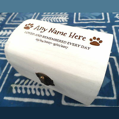 White Memorial Wooden Pet Urn Cremation Ashes Cat Dog Ash Box Personalised