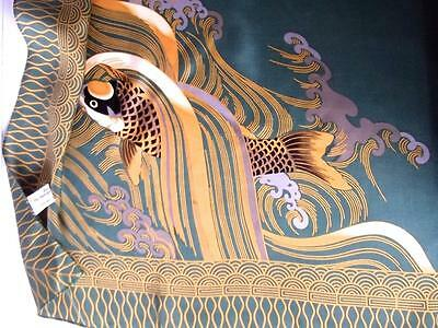 """Exquisite Vintage MMA 100% Olive Green Silk 31"""" Square Art Scarf Gold Koi Fish"""