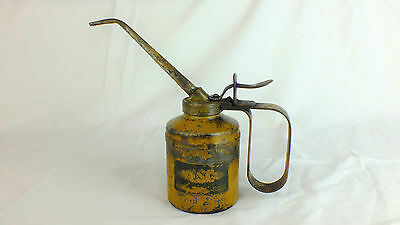 Vintage yellow Oil Can Wesco Long neck Pump action Classic car