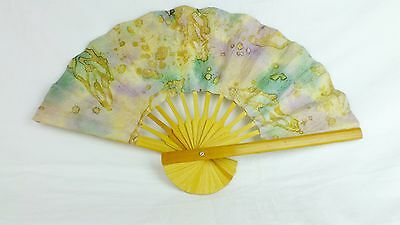 Vintage Hand  Made Paper Flowers Fan Hand Fan Handcrafted Floral