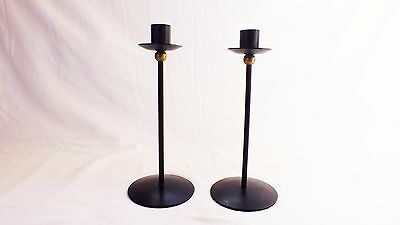 Pair Of Black mid century Iron and Brass Candlesticks Candle Holders