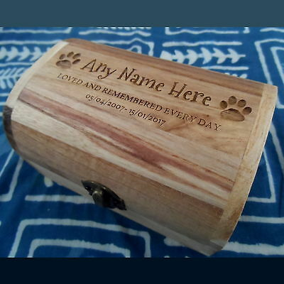 Varnished Memorial Wooden Pet Urn For Ashes Dog Ash Box Cremation Personalised