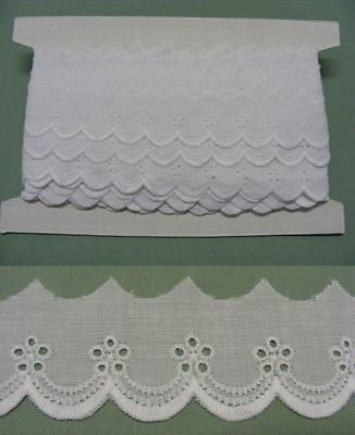 Broderie Anglaise Flat Lace  (8883) - White X 10  mts